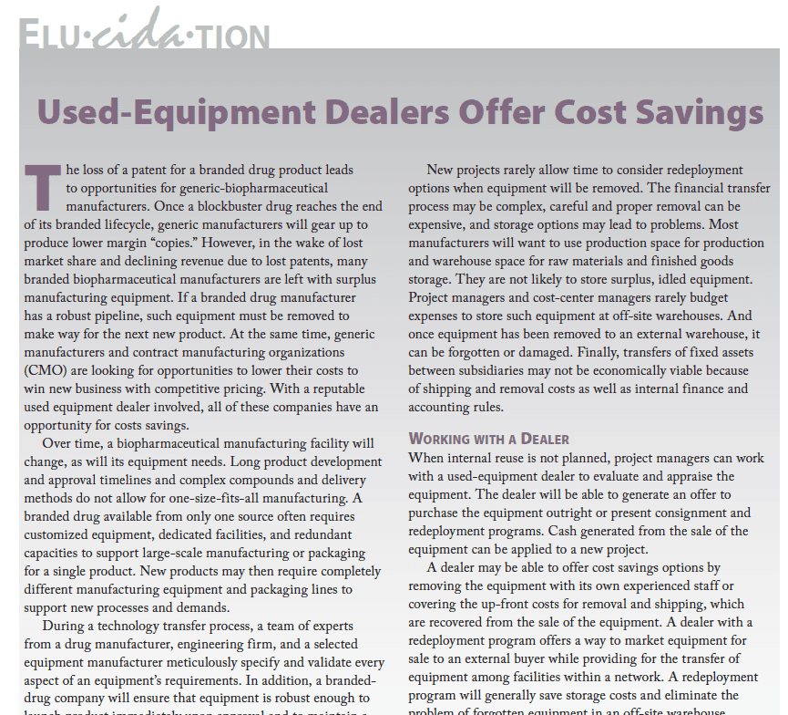 Used-Equipment Dealers Offer Cost Savings - BioProcessInternationalMarch2012