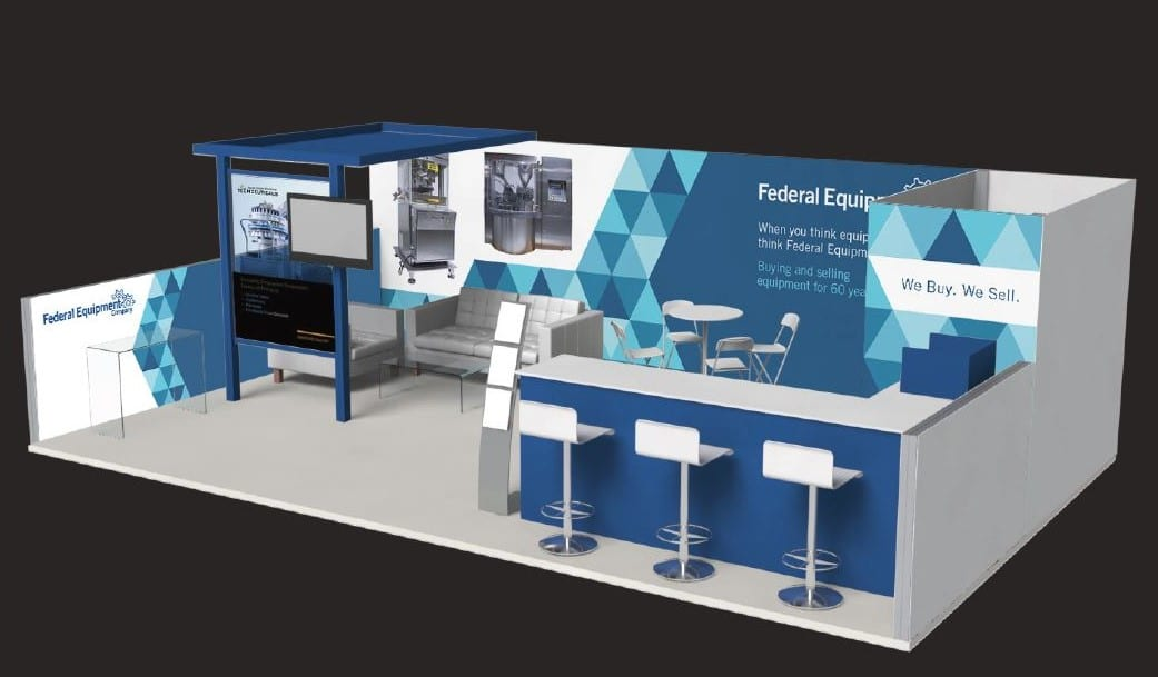 3D rendering of Federal Equipment Company's booth at Pharma Expo 2016